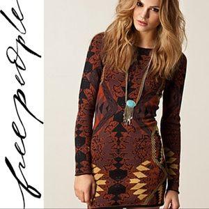 Free people tribal sweater bodycon mini dress